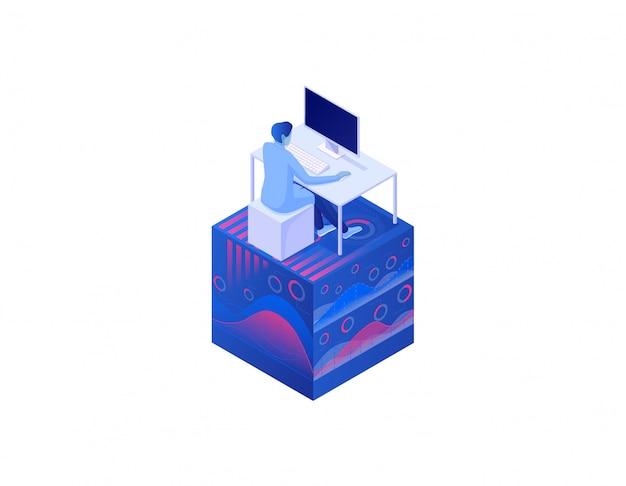 Conceito de dados de grande análise isométrico. alcance a análise de informações globais, gerenciamento de gráficos de ondas de data seo.