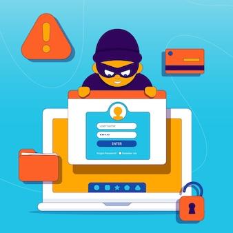 Conceito de dados roubados ilustrado