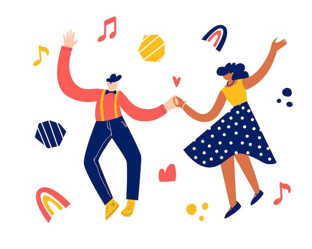 Conceito de dança de festa retrô. casal jovem negro dançando swing, lindy hop, rock n roll.