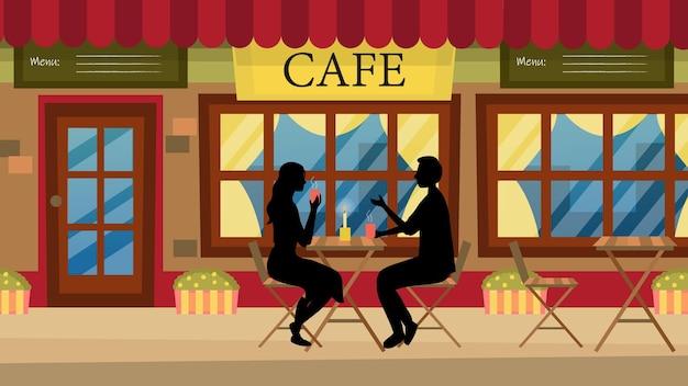 Conceito de data romântica. casal no amor homem e mulher em um café urbano. personagens sentados à mesa, conversando e se divertindo. diálogo entre parceiros românticos. ilustração plana dos desenhos animados.