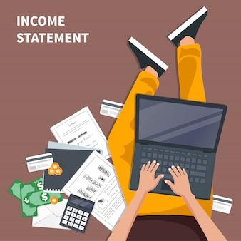 Conceito de declaração de renda