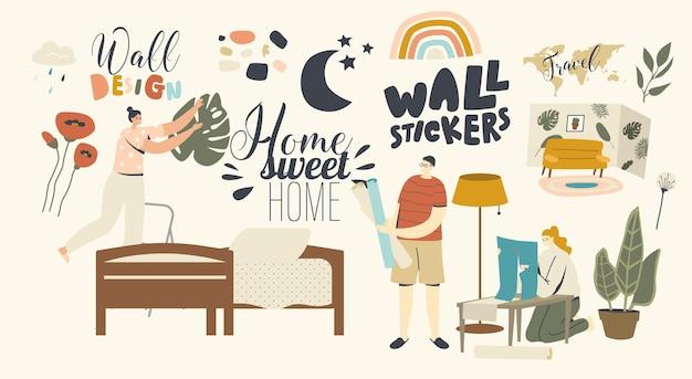 Conceito de decoração para casa. personagens masculinos e femininos decoram a sala ou o quarto com adesivos de parede. homem e mulher colam imagens decorativas para aconchego em casa. ilustração em vetor de pessoas lineares