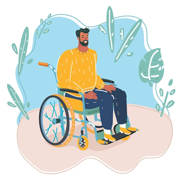 Conceito de deficiência da pessoa. homem sênior com deficiência em cadeira de rodas, isolado no fundo branco. ilustração em vetor plana.
