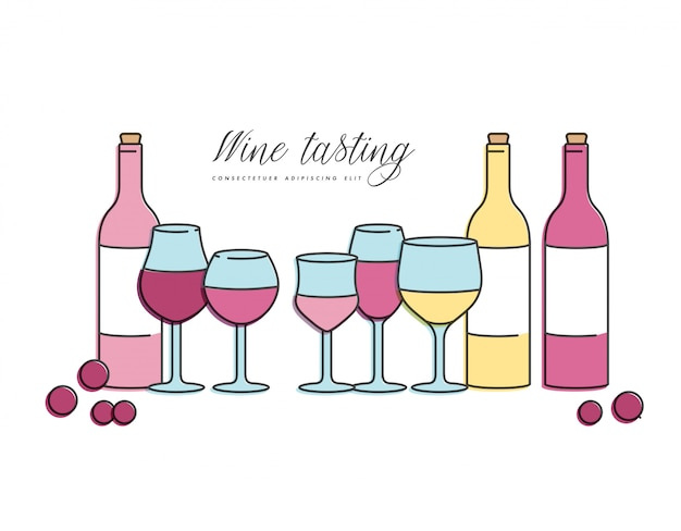 Conceito de degustação de vinhos para bar ou restaurante. diferentes tipos de copos e garrafas de vinho.