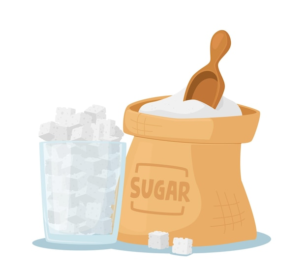 Conceito de dependência de açúcar, ingrediente com alto nível de glicose e carboidratos. saco e jarra de vidro cheia de açúcar de cana branco e colher de madeira Vetor Premium
