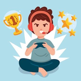 Conceito de dependência de jogos online com menino
