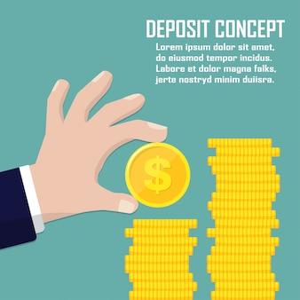 Conceito de depósito. mão segurando a moeda de dólar em um design plano