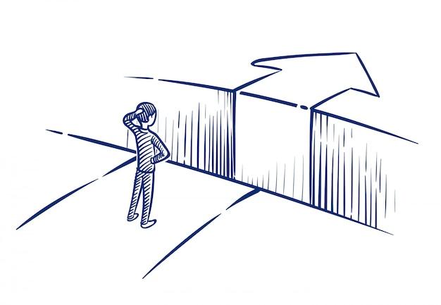 Conceito de desafio de negócios. empresário supera o abismo de obstáculos no caminho para o sucesso.