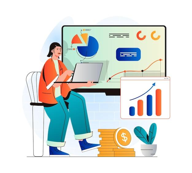 Conceito de desempenho de vendas em design moderno plano mulher trabalha com estatísticas financeiras