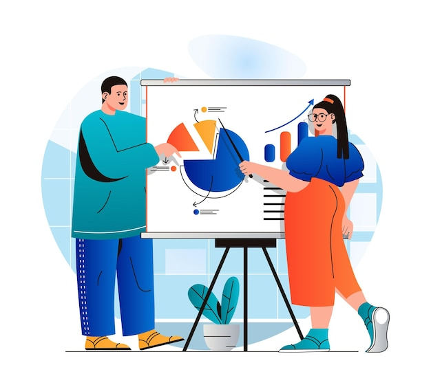 Conceito de desempenho de vendas em design plano moderno. a equipe analisa os dados e faz a apresentação