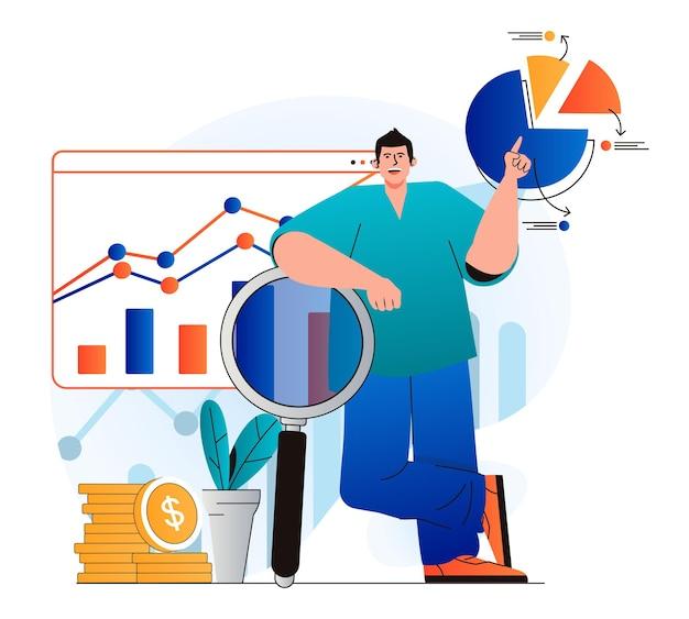 Conceito de desempenho de vendas em design plano moderno. o comerciante pesquisa estatísticas financeiras