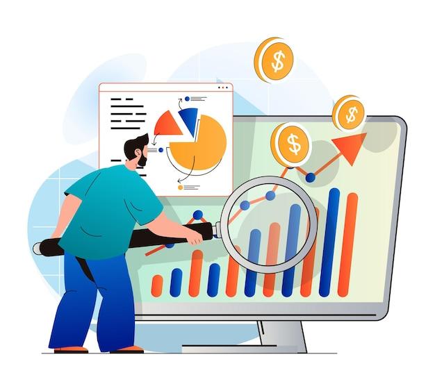 Conceito de desempenho de vendas em design plano moderno. o homem analisa dados e trabalha com estatísticas
