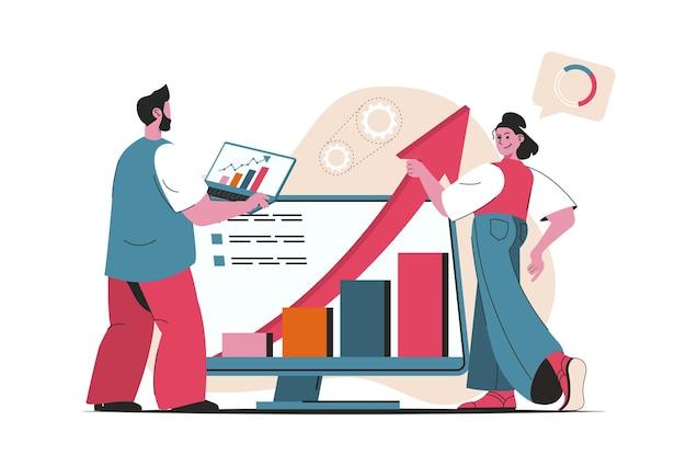 Conceito de desempenho de vendas isolado. análise de finanças, crescimento de lucro, aumento de vendas. cena de pessoas no design plano dos desenhos animados. ilustração vetorial para blog, site, aplicativo móvel, materiais promocionais.