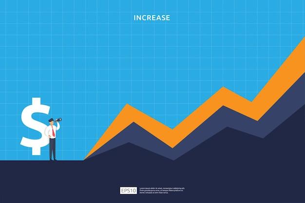 Conceito de desempenho financeiro. aumento do lucro do negócio com o caráter de seta e pessoas de crescimento para cima. taxa de salário de renda crescer receita de margem com o símbolo do dólar. retorno sobre o investimento ilustração em vetor roi