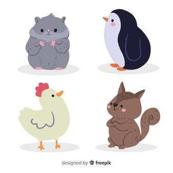 Conceito de desenho animado bonito coleção de animais