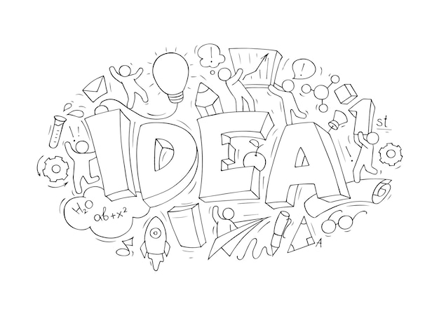 Conceito de desenho animado com a palavra idéia e elementos criativos. o conceito de negócio de fazer a ideia.