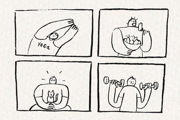 Conceito de desenho animado de autocuidado desenhado à mão de vetor de estilo de vida saudável