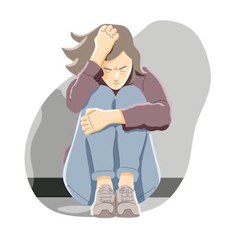 Conceito de desenho animado de depressão, frustração e solidão