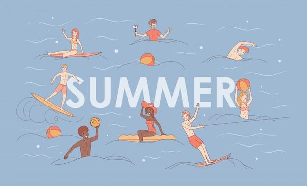 Conceito de desenho animado de férias de verão. esporte e atividade aquática.