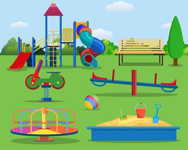 Conceito de desenho animado de playground para crianças