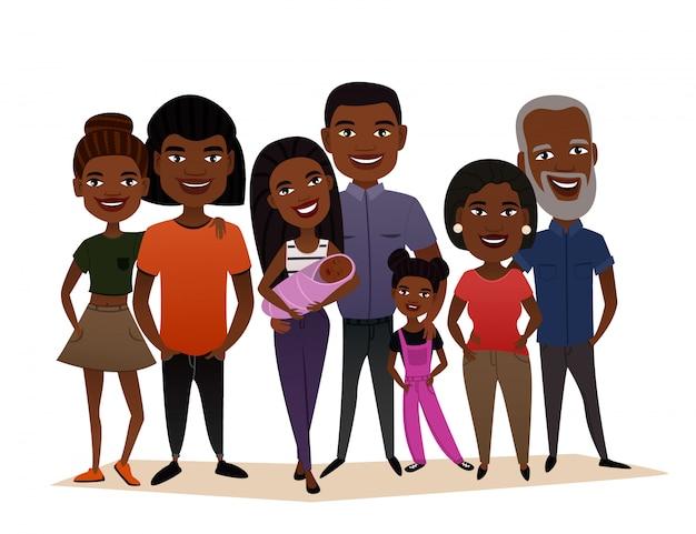Conceito de desenho animado feliz família negra grande