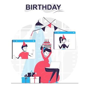 Conceito de desenho animado isolado de aniversário mulher comemorando o feriado com amigos por videochamada