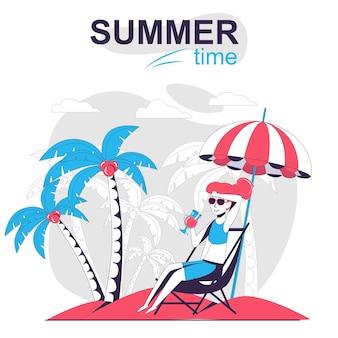 Conceito de desenho animado isolado de atividade de verão mulher tomando banho de sol na praia durante as férias no mar