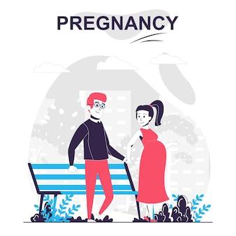 Conceito de desenho animado isolado de gravidez e maternidade esposa grávida e marido caminham no parque