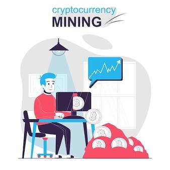 Conceito de desenho animado isolado de mineração de criptomoeda homem compra ou vende bitcoins aumenta a receita