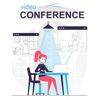 Conceito de desenho animado isolado de videoconferência mulher falando com amigos em videochamada por laptop