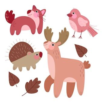 Conceito de desenho de animais da floresta de outono