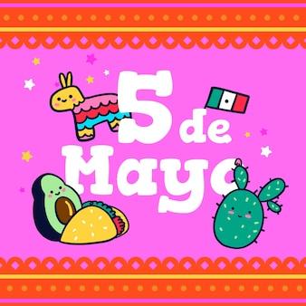 Conceito de desenho de cinco de mayo