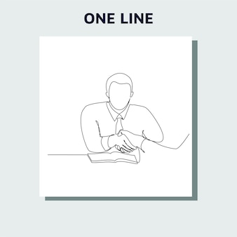 Conceito de desenho de linha contínua de executivos reunidos com um aperto de mão