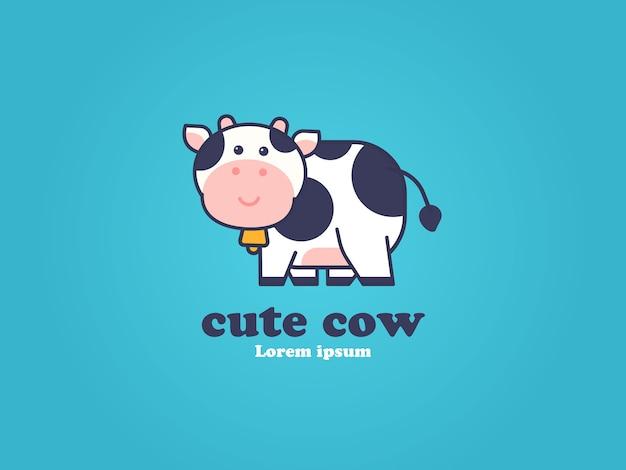 Conceito de desenho de logotipo de vaca fofa