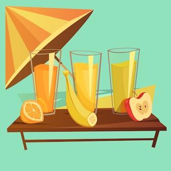 Conceito de desenhos animados de bebidas saudáveis