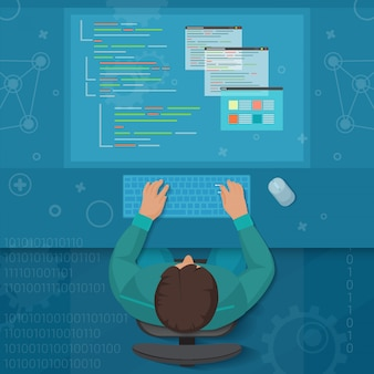 Conceito de desenvolvedor de engenheiro de software de homem