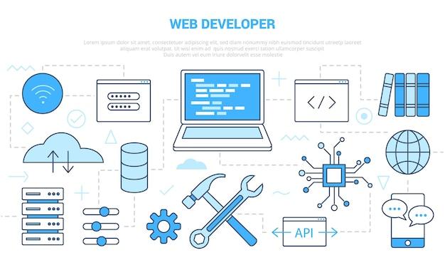 Conceito de desenvolvedor de site da web com banner de modelo de conjunto de ícones com ilustração moderna do estilo de cor azul