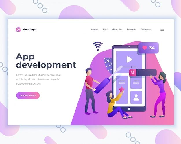 Conceito de desenvolvimento de aplicativo de modelo de página inicial com pessoas do escritório