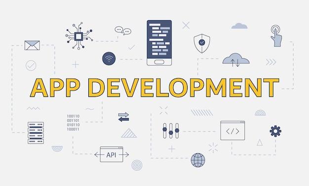 Conceito de desenvolvimento de aplicativo móvel com conjunto de ícones com palavra ou texto grande na ilustração vetorial central