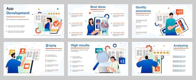 Conceito de desenvolvimento de aplicativo para modelo de slide de apresentação desenvolvedores de pessoas geram ideias