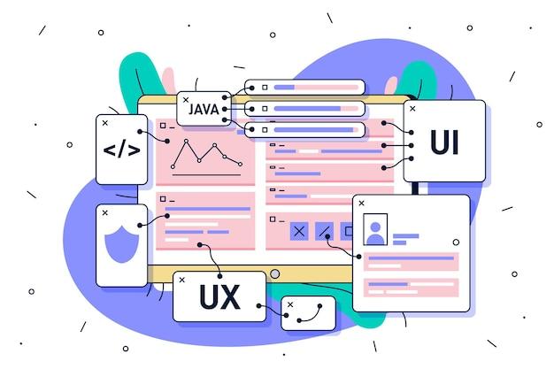 Conceito de desenvolvimento de aplicativo ui e ux