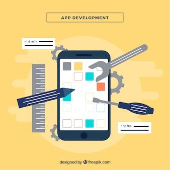 Conceito de desenvolvimento de aplicativos com deisng plana