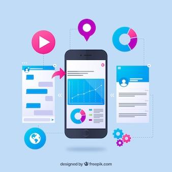 Conceito de desenvolvimento de aplicativos com design plano