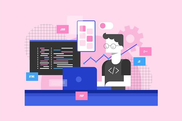 Conceito de desenvolvimento de aplicativos com homem e laptop