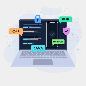 Conceito de desenvolvimento de aplicativos com laptop