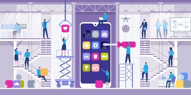 Conceito de desenvolvimento de aplicativos móveis com personagens