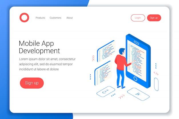 Conceito de desenvolvimento de aplicativos móveis. o programador escreve o código no smartphone. isométrica 3d plana. modelo de página de destino. ilustração.