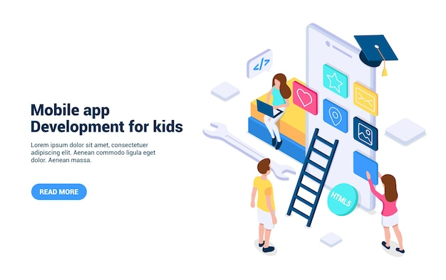 Conceito de desenvolvimento de aplicativos móveis para crianças