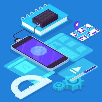 Conceito de desenvolvimento de aplicativos móveis. tecnologia moderna e interface de smartphone. criação e programação de aplicativos. ilustração isométrica