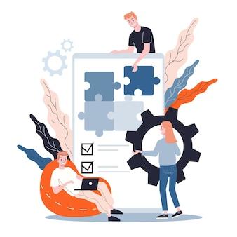 Conceito de desenvolvimento de aplicativos móveis. tecnologia moderna e interface de smartphone. criação e programação de aplicativos. ilustração